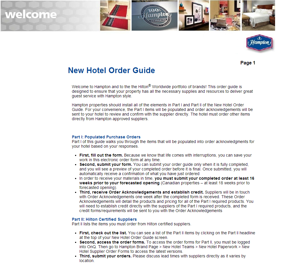 Hampton New Hotel Order Guide